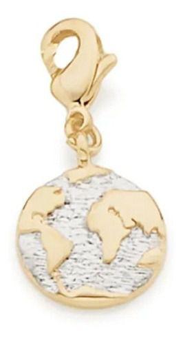 Berloque Planeta Terra Rommanel Folheado A Ouro 542169