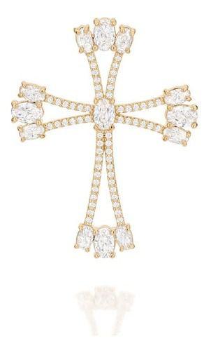 Pingente Cruz Com Zircônias Folheado A Ouro Rommanel 542173