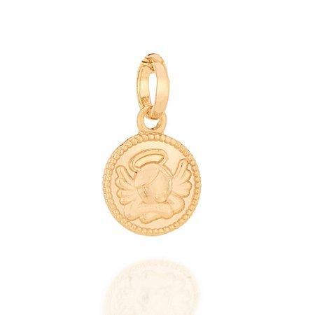 Medalha Infantil Com Anjo Folheado A Ouro Rommanel 542214