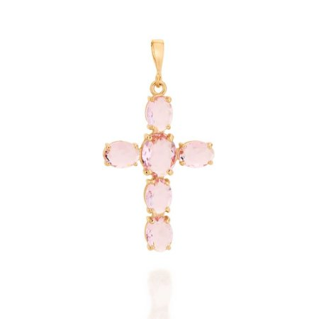 Pingente Cruz De Cristais Folheado A Ouro Rommanel 542220