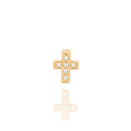 Pingente Cruz Com Zircônias Folheado A Ouro Rommanel 542251