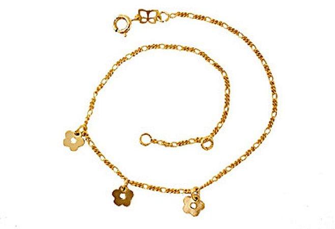 Tornozeleira Com Berloques Folheado A Ouro Rommanel 550623
