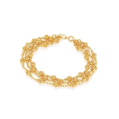 Pulseira de Globos Vazados Folheado A Ouro Rommanel 550814