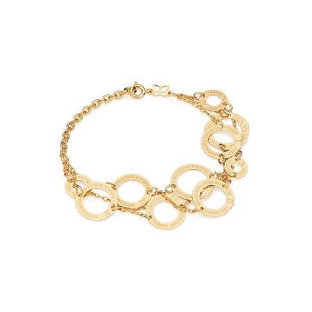 Pulseira Tripla Com Círculos Folheado A Ouro Rommanel 550885