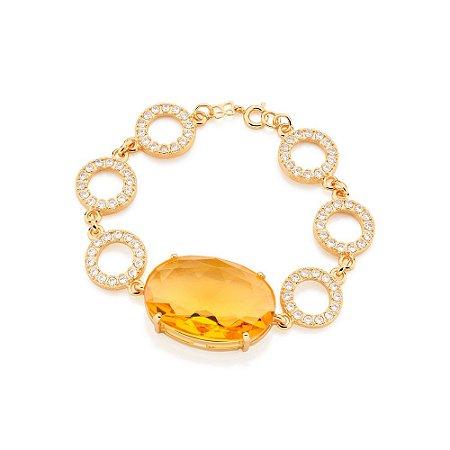 Pulseira Com Cristal Folheado A Ouro Rommanel 551166