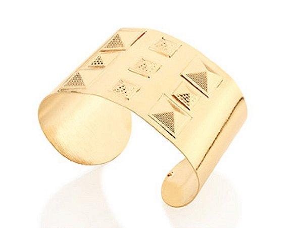 Bracelete Largo Com Spikes Folheado A Ouro Rommanel 551197
