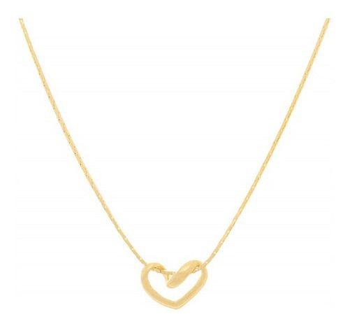 Gargantilha e Coração Folheado A Ouro Rommanel 530519