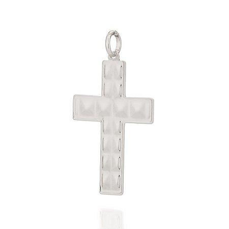Pingente de Cruz Em Rhodium Rommanel 140817