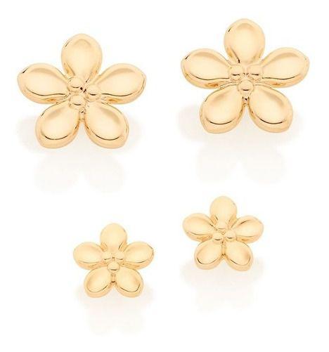 Brinco De Flores Folheado A Ouro Rommanel 526423