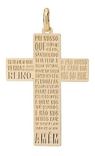 Pingente Cruz Com Pai Nosso Folheado A Ouro Rommanel 542168