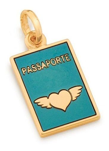 Pingente Passaporte Folheado A Ouro Rommanel 542271