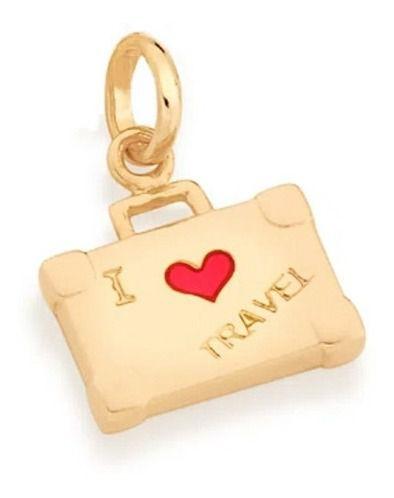 Pingente I Love Travel Folheado A Ouro Rommanel 542267