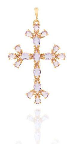 Pingente Cruz Com Cristais Folheado A Ouro Rommanel 542263
