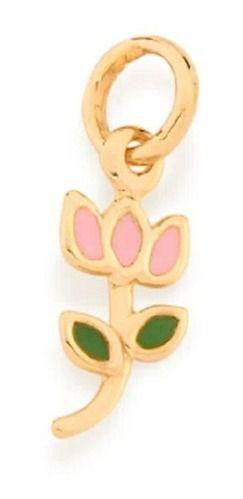 Pingente De Flor Tulipa Folheado A Ouro Rommanel 542261