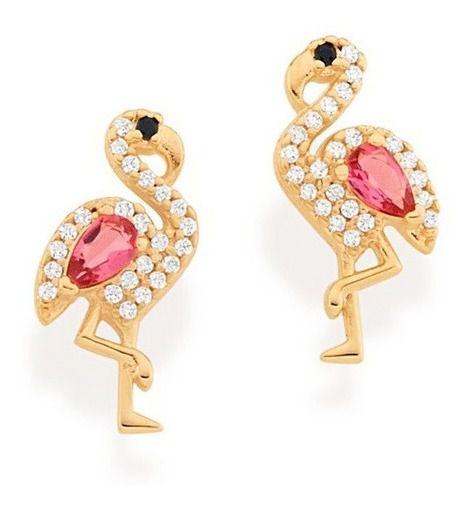 Brinco de Flamingo Folheado A Ouro Rommanel 526425