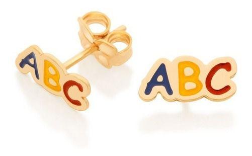 Brinco Infantil Folheado A Ouro Rommanel Com Abc 526417