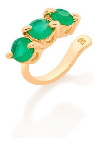 Brinco Piercing de cristal Folheado A Ouro Rommanel 526415