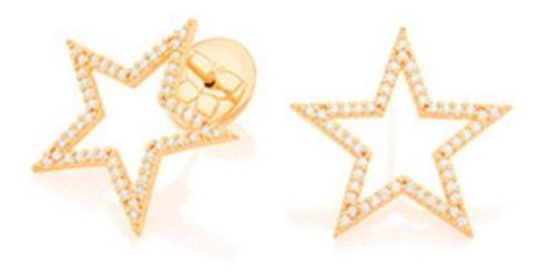 Brinco Estrela Folheado A Ouro Rommanel e Zircônias 526375