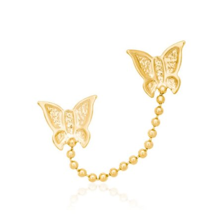 brinco de borboletas Rommanel  Folheado a ouro