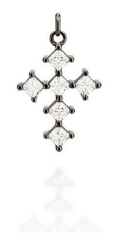 Crucifixo Rommanel A Rhodium Negro Com Zircônias  440002