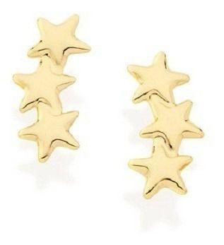 Brinco De Estrelas Folheado A Ouro Rommanel  522270