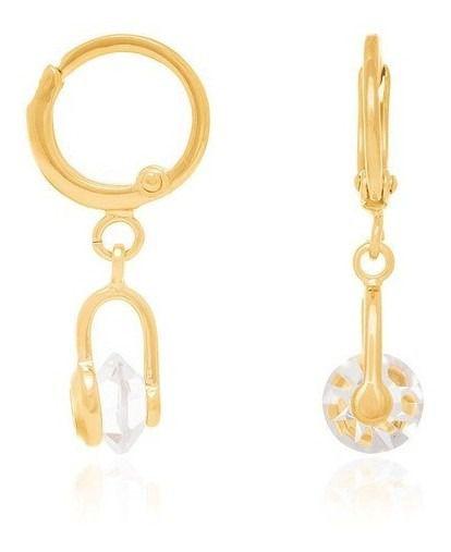 Brinco Argola Com Cristal Folheado A Ouro Rommanel 523033