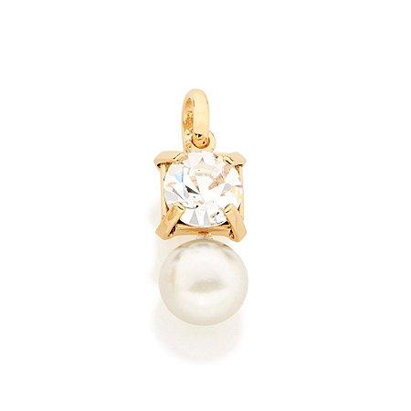 Pingente Folheado A Ouro Rommanel Cristal E Pérola 541541