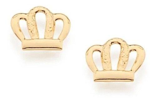 Brinco Infantil De Coroa Folheado A Ouro Rommanel 524948
