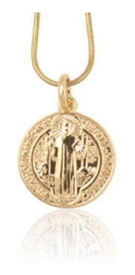 Medalha De São Bento Folheado A Ouro Rommanel 541054