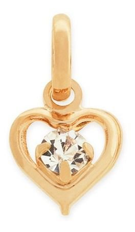 Pingente Coração Com Cristal Folheado A Ouro Rommanel 540751
