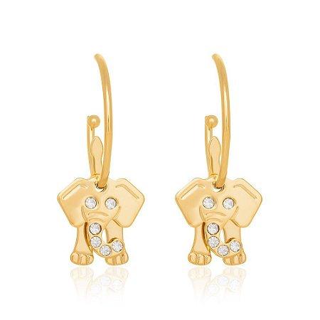 Brinco Elefante Com Cristais Folheado A Ouro Rommanel 523324