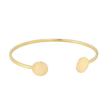 Bracelete Geométrico Círculos Ajustável Folheado em Ouro 18k - BCF514