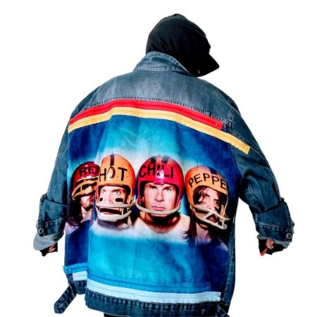 Jaqueta Jeans Oversized Customizada Red Hot Chili Peppers