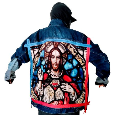 Jaqueta Jeans Oversized Customizada Jesus Cristo