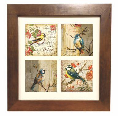 3004M-020 Quadro decor madeira - Pássaros