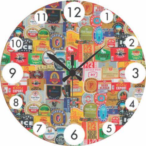 1603 Relógio Redondo -Rótulos Cerveja