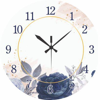 1700-016 Relógio Redondo - Flor Azul