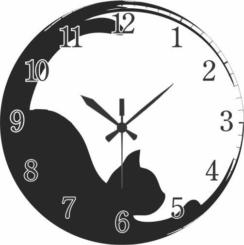 1700-028 Relógio Redondo - Gato deitado