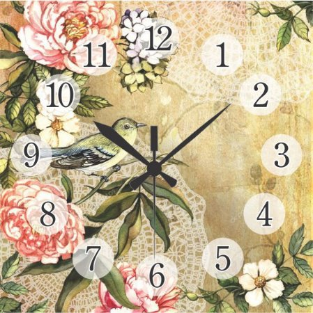 1600-Q30-011 Relógio Quadrado - Passarinho