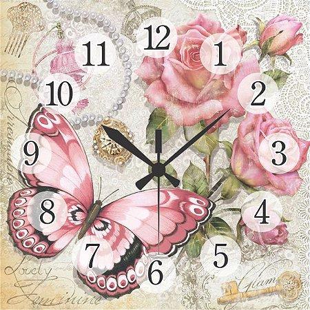1600-Q30-012 Relógio Quadrado - Borboleta