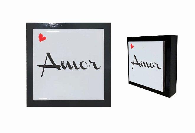 07-04-P021 Cubo Decor Preto - Amor Coração