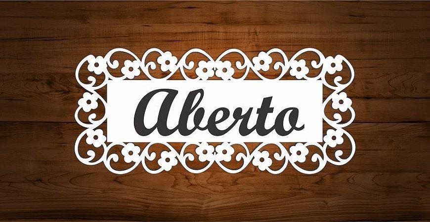 14-05-PAF Placa Margarida Floral -Aberto/Fechado