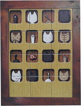 3093AM-046 Quadro de azulejo - Gatos