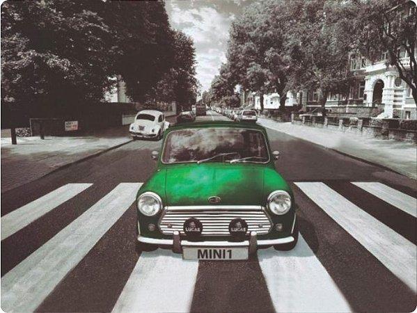 1223 Placa de Metal - Mini Cooper verde