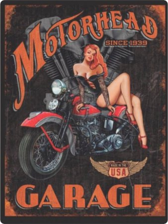 1227 Placa de Metal - Moto Garage