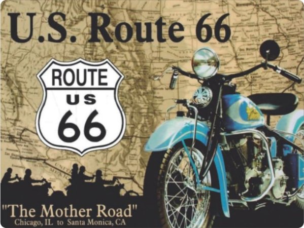 1231 Placa de Metal - Route 66 Moto azul