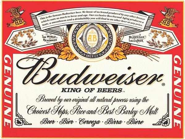 1294 Placa de Metal - Budweiser rótulos