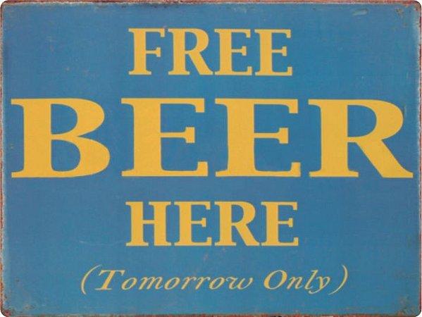 1321 Placa de Metal - Free Beer Here