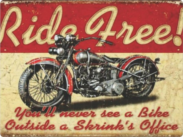 1396 Placa de Metal - Ride free
