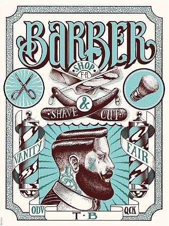 3570 Placa de Metal - Barber Shop Blue
